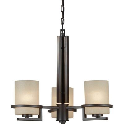 3-Light Shaded Chandelier Finish: Antique Bronze, Shade Color: Umber Linen