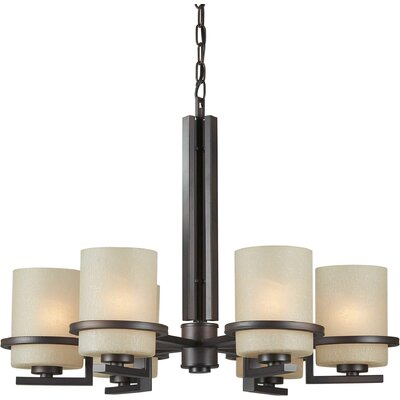 Vanzandt 6-Light Shaded Chandelier Finish: Antique Bronze, Shade Color: Umber Linen