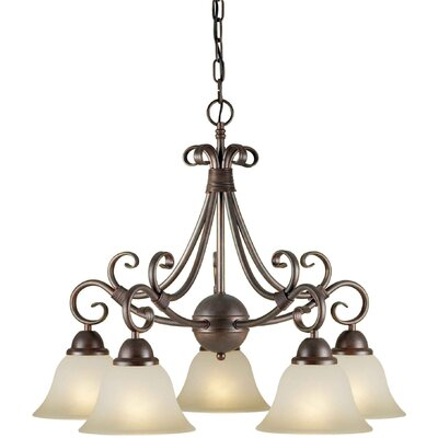 5 Light Chandelier Finish / Shade: Black Cherry / Umber