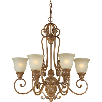 6 Light Chandelier with Umber Mist Shade
