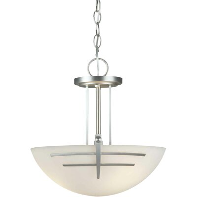 3-Light Convertible Inverted Pendant Finish / Shade: Brushed Nickel / Satin Opal