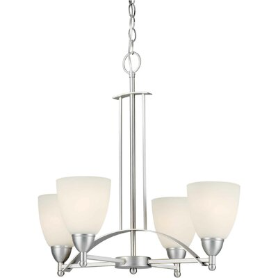 Vanzandt 4-Light Shaded Chandelier Finish / Shade: Brushed Nickel / Satin Opal