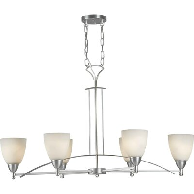 Six Light Oval Chandelier Finish / Shade: Brushed Nickel / Satin Opal