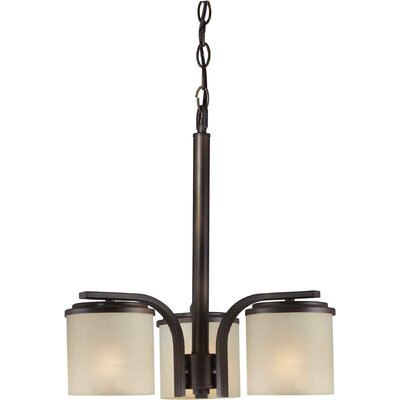 3 Light Chandelier Finish / Shade: Antique Bronze / Umber Linen
