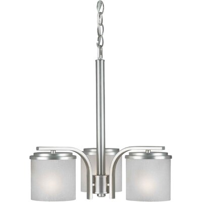 3 Light Chandelier Finish / Shade: Brushed Nickel / White Linen