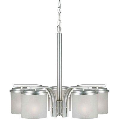 5 Light Chandelier Finish / Shade: Brushed Nickel / White Linen