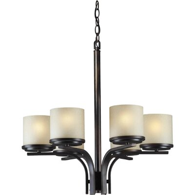 6 Light Chandelier Finish / Shade: Antique Bronze / Umber Linen