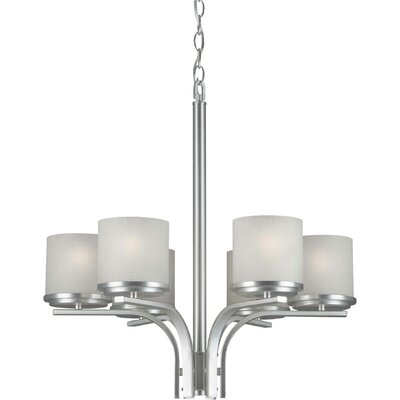 6 Light Chandelier Finish / Shade: Brushed Nickel / White Linen