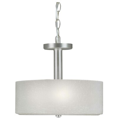 3 Light Convertible Drum Pendant Finish / Shade: Brushed Nickel / White Linen