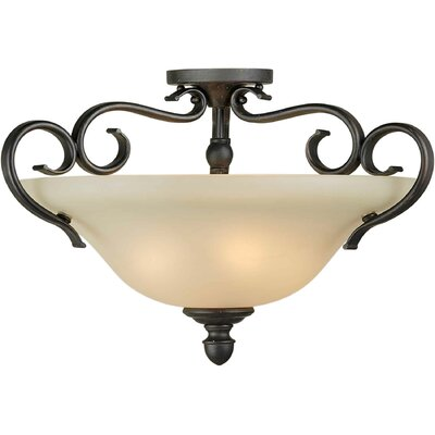 3 Light Semi Flush Mount Size: 20 H x 14 W