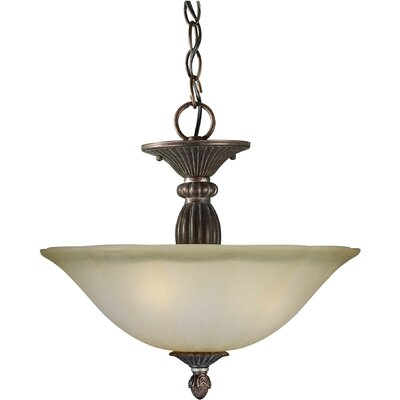 3-Light Convertible Pendant with Umber Mist Shade in Black Cherry