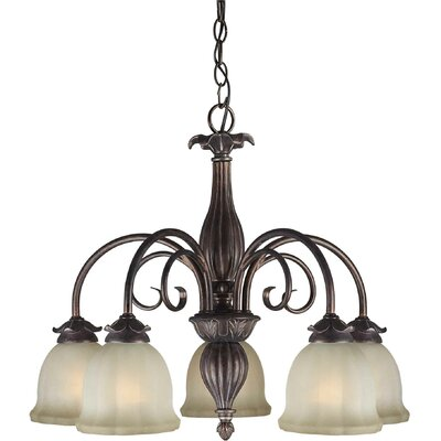 5 Light Chandelier with Umber Mist Shade
