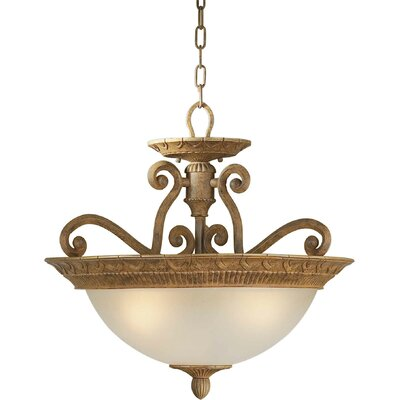 3-Light Convertible Pendant with Umber Shade in Chestnut