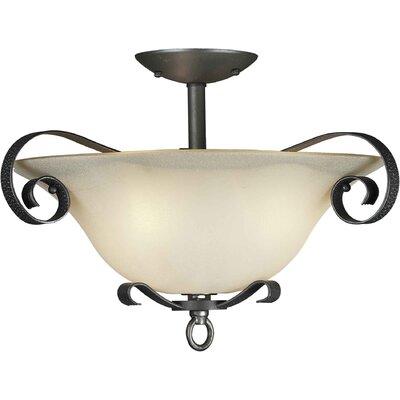 3 Light Semi Flush Mount - Umber Glass