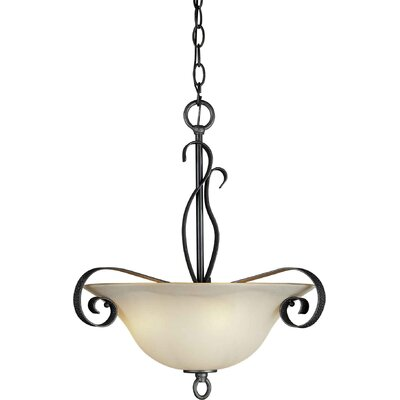 Three Light Bowl Pendant in Natural Iron