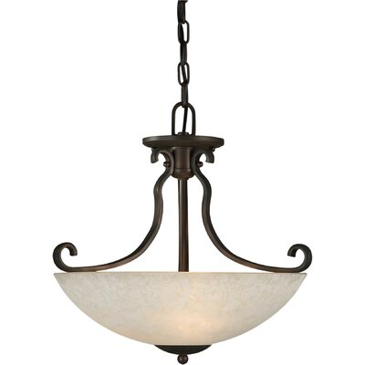 3-Light Convertible Pendant with Tapioca Shade in Antique Bronze