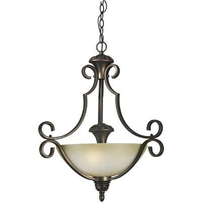 3-Light Bowl Pendant with Umber Mist Shade in Antique Bronze