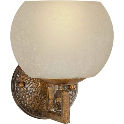 One Light Wall Sconce with Umber Linen Shade in Rustic Sienna