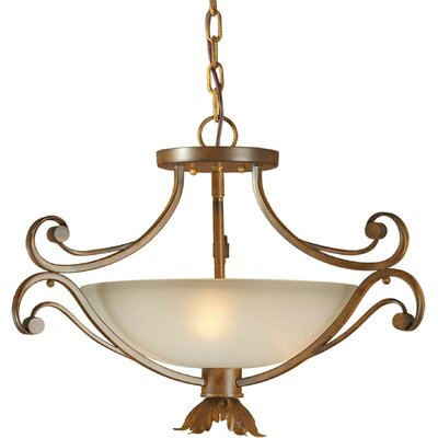 3-Light Convertible Pendant with Umber Glass Shade in Rustic Sienna