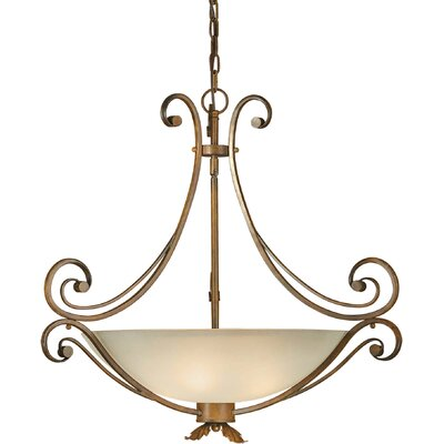 Blackford 4-Light Bowl Pendant with Umber Glass Shade in Rustic Sienna