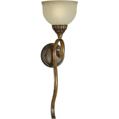 One Light Wall Sconce with Patterned Glass in Rustic Sienna