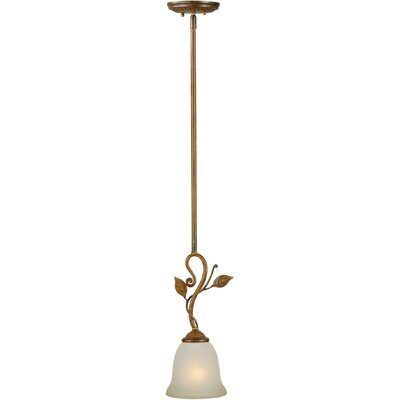 1-Light Mini Pendant with Umber Glass Shade in Rustic Sienna
