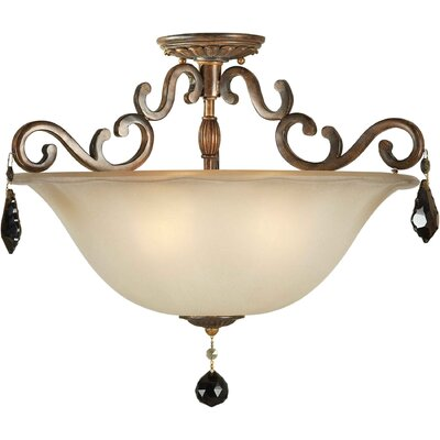 Semi Flush Mount Size: 20.5 H x 14.5 W