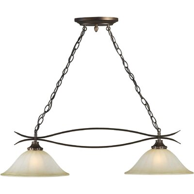 2-Light Island Pendant in Antique Bronze