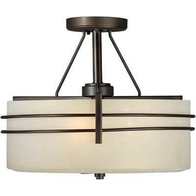 3-Light Semi Flush Mount - Umber Linen Shade