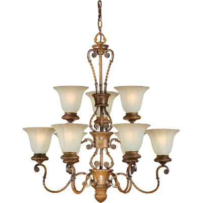 Bourgault 9-Light Shaded Chandelier