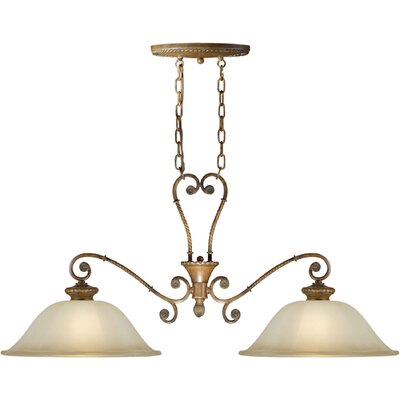 2-Light Island Pendant with Umber Shade in Rustic Sienna