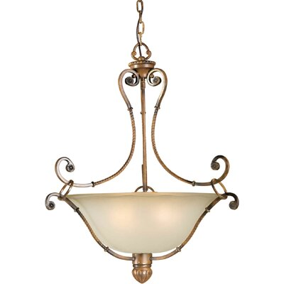 23 4-Light Bowl Pendant with Umber Shade in Rustic Sienna