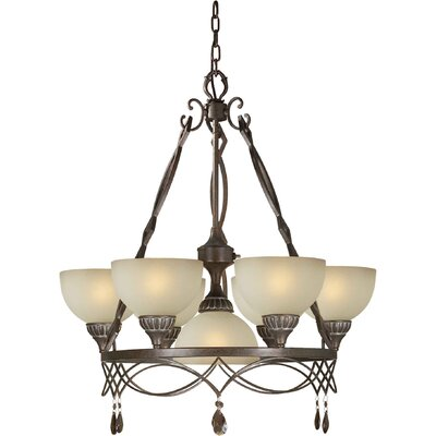 7 Light Chandelier with Umber Shades
