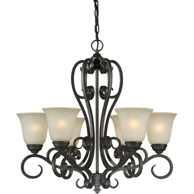 6 Light Chandelier with Umber Mist Shades