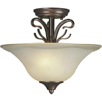 2 Light Semi Flush Mount - Steel