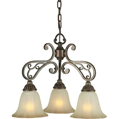 3 Light Chandelier with Umber Shade