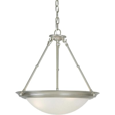 3-Light Bowl Inverted Pendant Finish / Shade: Brushed Nickel / White Linen