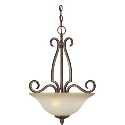 Three Light Pendant with Umber Shade in Black Cherry