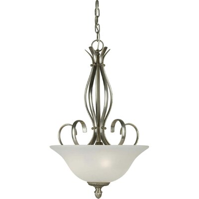 3-Light Bowl Inverted Pendant Finish / Shade: Comb of Brushd Nickel and River Rock / White Linen