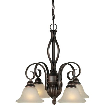 Danielian 4-Light Shaded Chandelier Finish / Shade: Antique Bronze / Umber Linen
