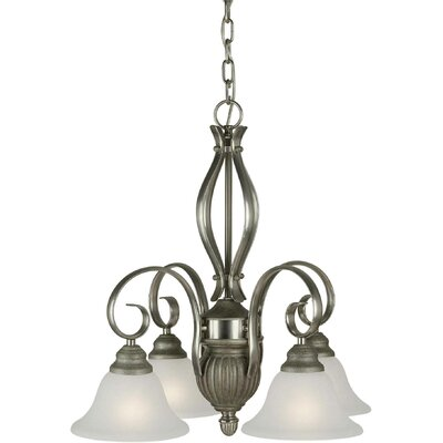 4-Light Shaded Chandelier Finish / Shade: Brushed Nickel and River Rock / White Linen