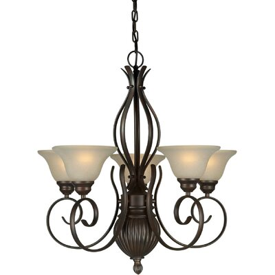 Danton 5-Light Shaded Chandelier Finish / Shade: Antique Bronze / Umber Linen