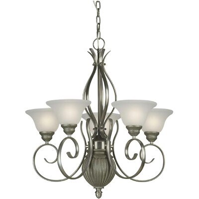 5-Light Shaded Chandelier Finish / Shade: Brushed Nickel and River Rock / White Linen