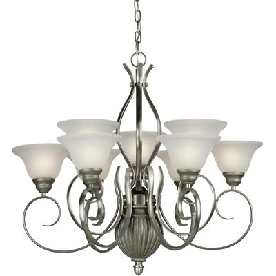 9-Light Shaded Chandelier Finish / Shade: Comb of Brushd Nickel and River Rock / White Linen