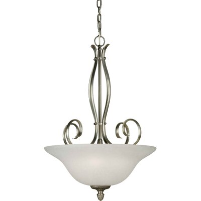 Blairview 4-Light Bowl Inverted Pendant Finish / Shade: Comb of Brushd Nickel and River Rock / White Linen