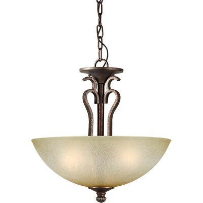 Borger 3-Light Convertible Pendant with Umber Mist Shade in Black Cherry