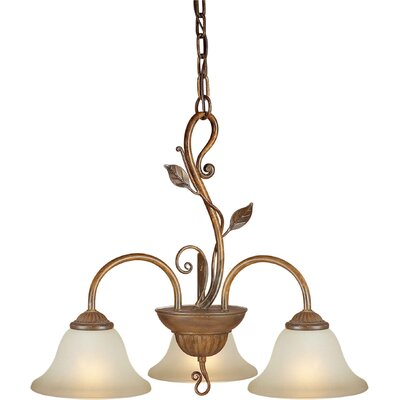 3 Light Chandelier with Umber Glass Shade