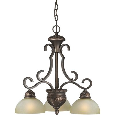 3 Light Chandelier with Umber Mist Shade