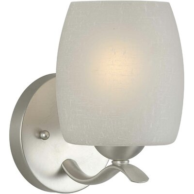 One Light Wall Sconce with White Linen Shade in Brushed Nickel