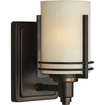 One Light Wall Sconce with Umber Linen Shade in Antique Bronze